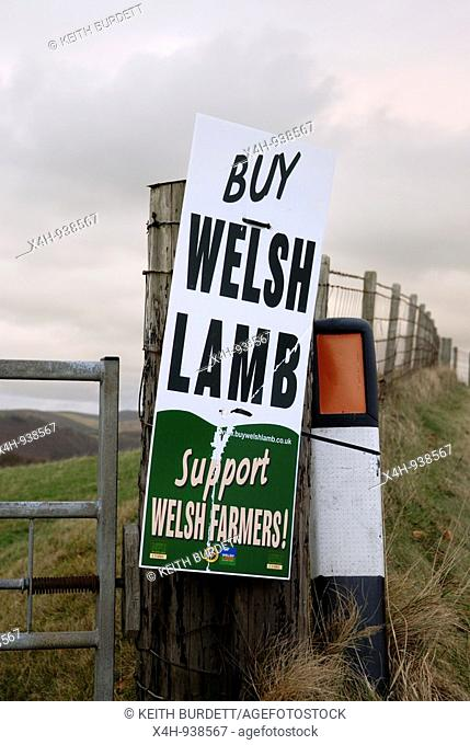 Poster on a gatepost promoting Welsh Lamb, Ceredigion, Wales