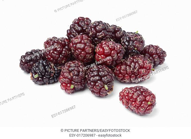 Fresh picked ripe mulberries on white background