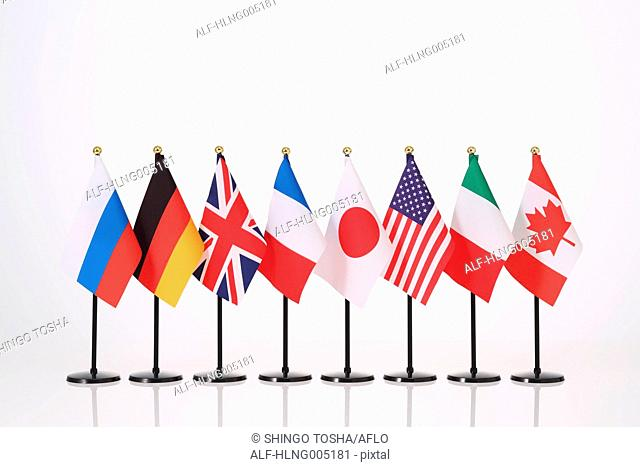 National flags on white background