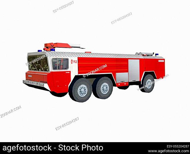 rotes Feuerwehr Fahrzeug mit Leiter