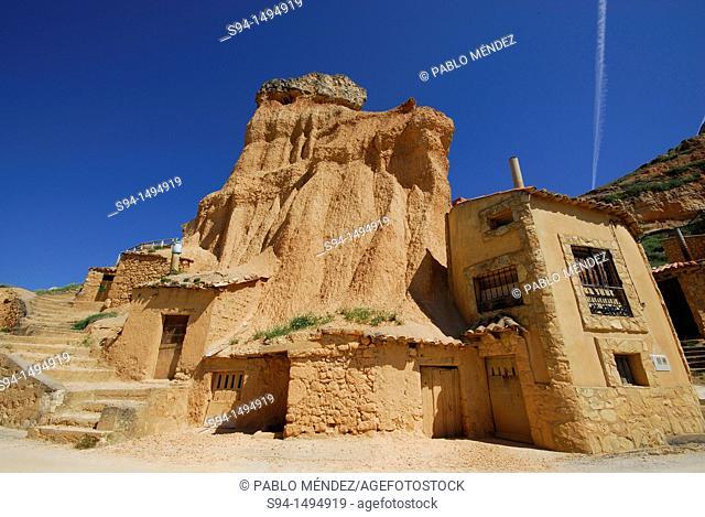 Cave houses in San Esteban de Gormaz, Soria, Spain