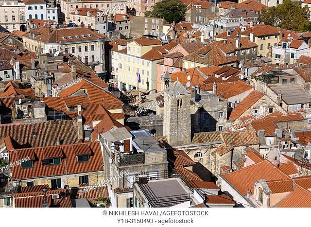 Aerial view of Narodni Trg, National Square, Split, Croatia
