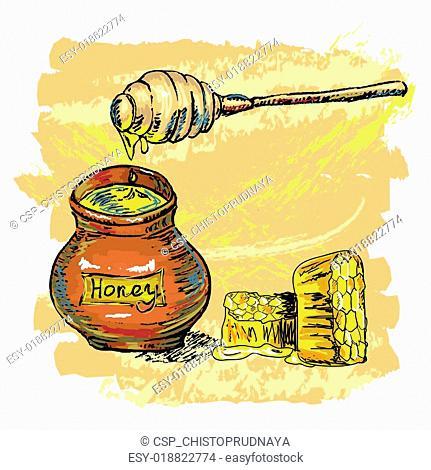 honey jar with honeycombs