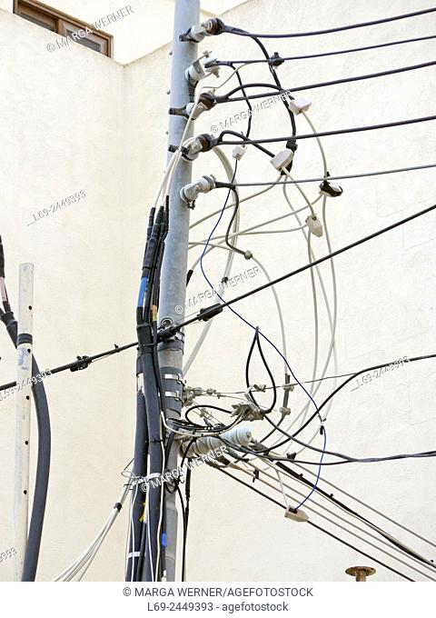 Power lines outside a building, Rabat, island Malta