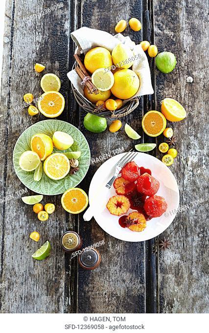 Citrus fruits and orange dessert