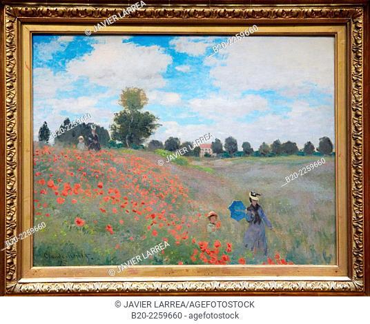 Poppies at Argenteuil, 1873, by Claude Monet (1840-1926), oil on canvas, 50x60 cm. Musée d'Orsay. Orsay Museum. Paris. France