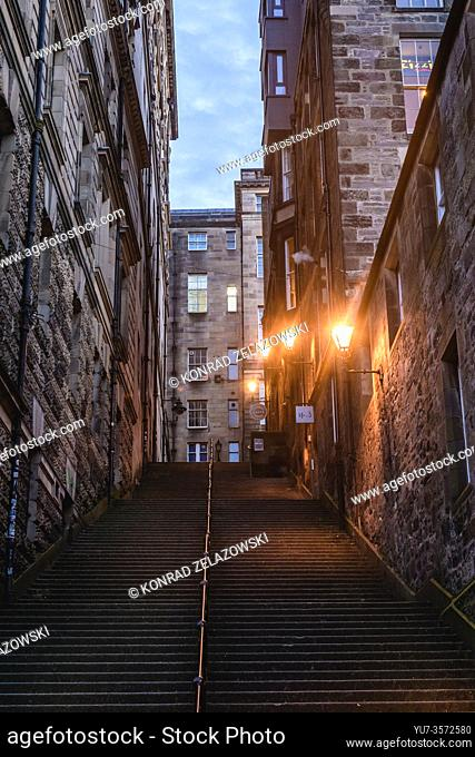 Warriston Close stairs in Edinburgh, the capital of Scotland, part of United Kingdom