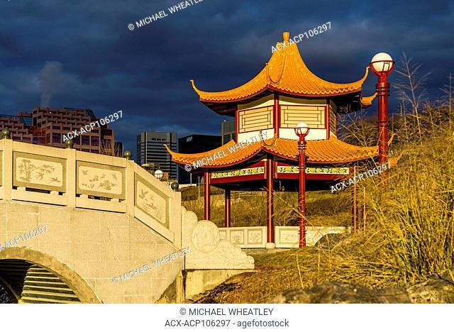 Chinese Pagoda, Chinese Garden, Louise McKinney Riverfront Park, Edmonton, Alberta, Canada
