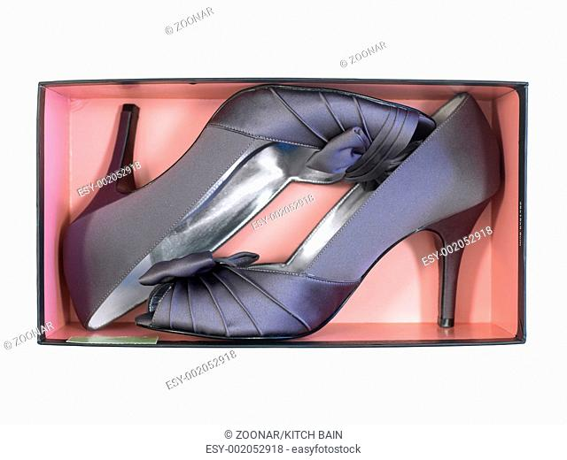 Ladies high heeled shoes isolated against a white background
