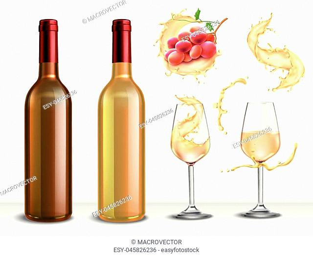 Wine splash realistic collection of isolated images with bottles drinking glasses and spray of white wine vector illustration