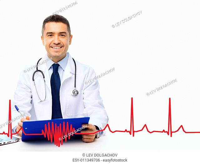 medicine, profession, technology and people concept - happy male doctor with clipboard and stethoscope over red cardiogram pattern