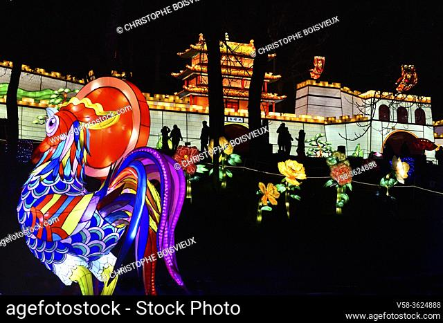France, Tarn, Gaillac, Festival des lanternes (Chinese Lantern Festival), Illuminated cock and replica of the Great Wall.