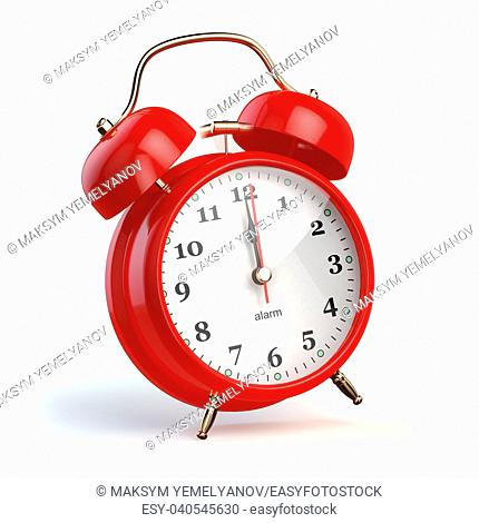 Ringing alarm clock isolated on white. Wake up concept. 3d illustration