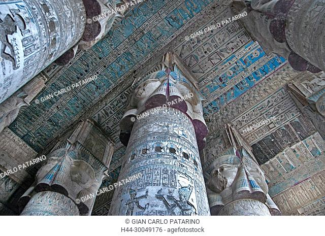 Dendera Egypt, ptolemaic temple dedicated to the goddess Hathor. The hypostyle hall