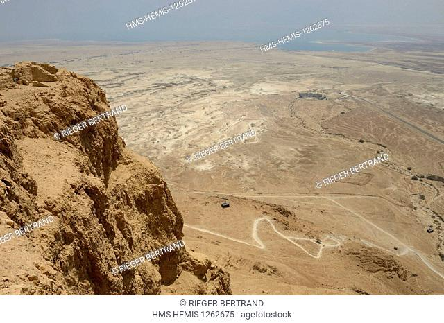 Israel, Negev Desert, Masada fortress, listed as World Heritage by UNESCO, cable car overlooking the Dead Sea, the Snake Path and the remains of a Roman camp