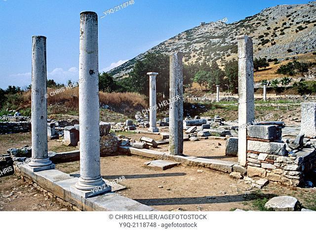 The Agora in Ancient Graeco-Roman Ruins of Philippi Macedonia Greece