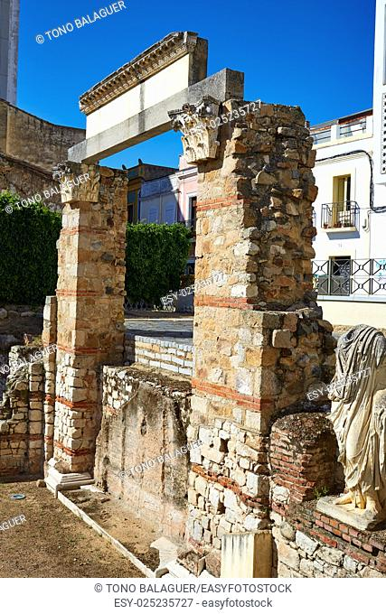 Merida in Badajoz Roman ruins at Spain by Via de la Plata way