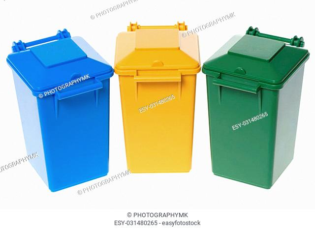 Dustbins in the colors blue, yellow and green isolated over a white background