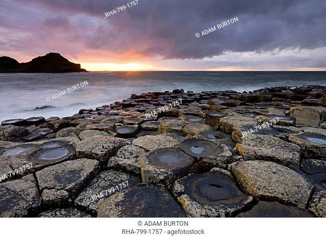 Sunset over the Giants Causeway, UNESCO World Heritage Site, County Antrim, Northern Ireland, United Kingdom, Europe