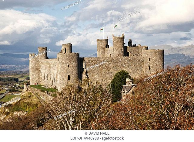 Wales, Gwynedd, Harlech, Harlech Castle, built by King Edward l in the late 13th century as one of his 'iron ring' of fortresses