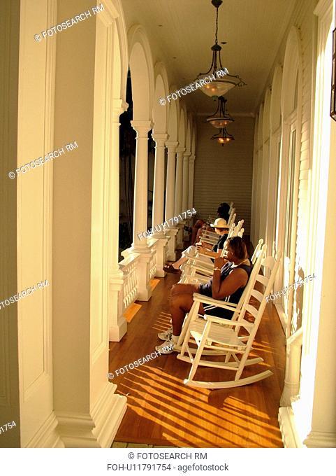 Waikiki, Honolulu, Oahu, HI, Hawaii, Sheraton Moana Surfrider Hotel ca. 1901, First Lady of Waikiki, front porch, rocking chairs
