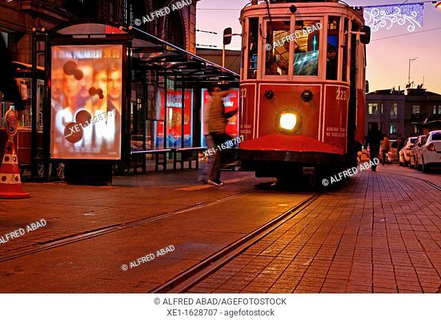evening, tram, Istiklal Caddesi, Istanbul, Turkey