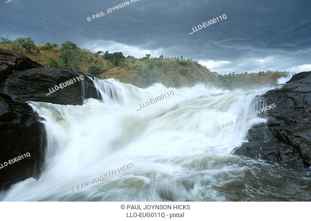 Nile River Cascading Over Falls  Murchison Falls National Park, Uganda
