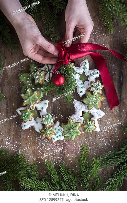 Christmas wreath made with gingerbread cookies and matcha glaze