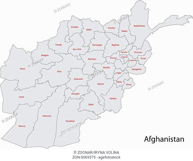 Grey Afghanistan map