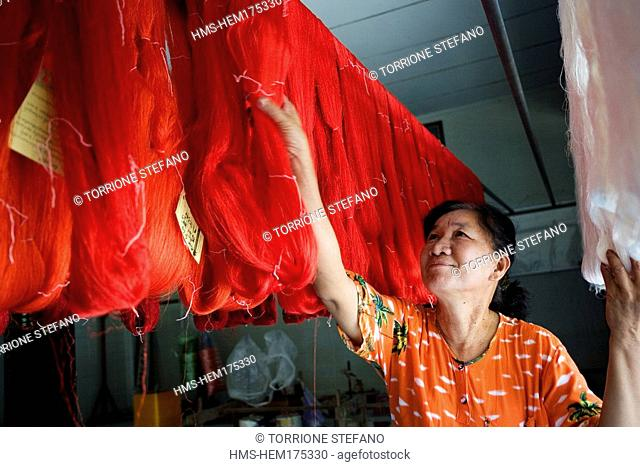 Thailand, Northeastern Thailand, Isan region, Chonnabot district, Chonnabot, loom for the mat mii dyeing the threads of silk before weaving