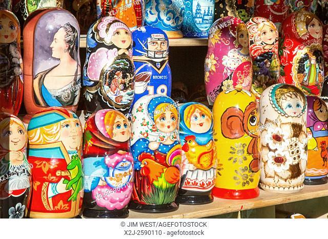 Denver, Colorado - Nesting dolls on sale at the Denver Christkindl Market, a traditional German Christmas marketplace