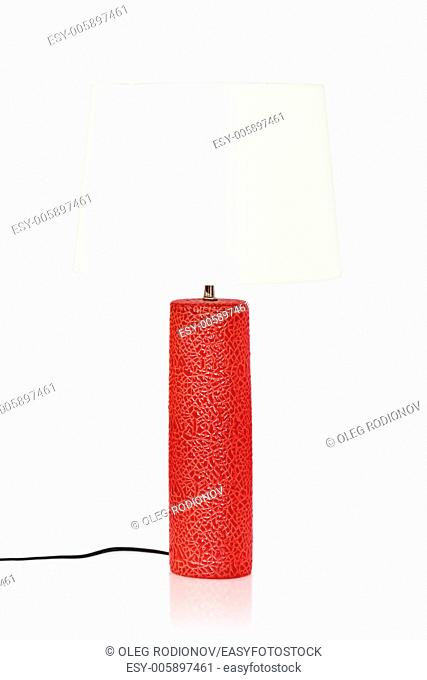 red table lamp isolated on a white background