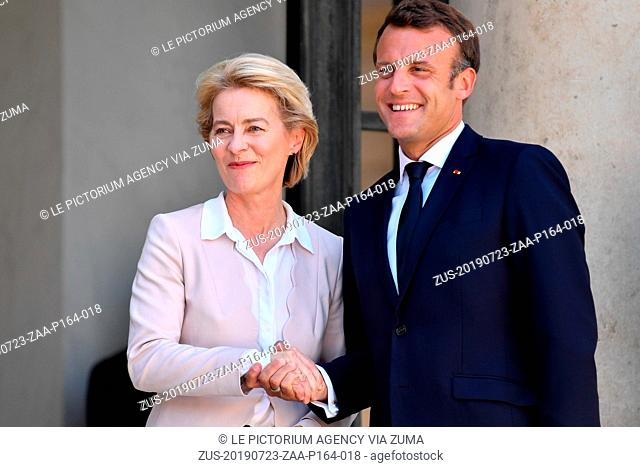 July 23, 2019, Paris, France: The President of France, EMMANUEL MACRON received for a working lunch, the new President of the European Commission, Mrs
