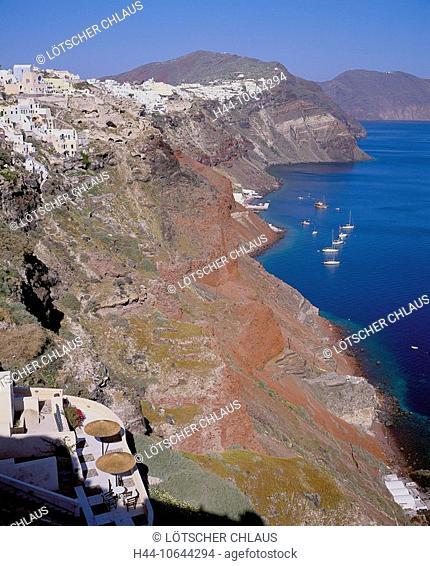 10644294, Greece, Cyclades, Santorini, crater edge, village, Oia, cliffs, red