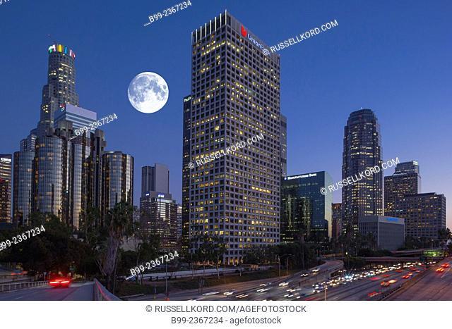 Downtown Skyline Interstate 110 Harbor Freeway Los Angeles California Usa