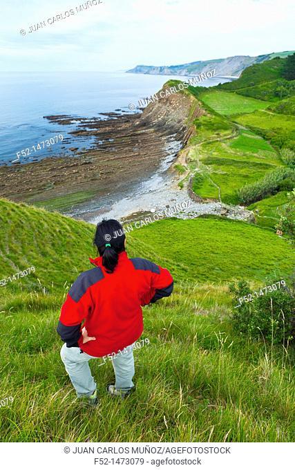 Flysch, Sakoneta beach, Deva, Gipuzkoa, The Basque Country, The Bay of Byscay, Spain, Europe