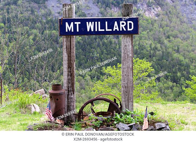 The site of the Mt. Willard Section House along the old Maine Central Railroad, next to the Willey Brook Trestle, in Crawford Notch State Park of New Hampshire