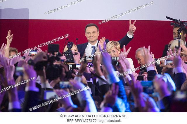 May 24, 2015. Warsaw, Poland. Andrzej Duda won presidential elections