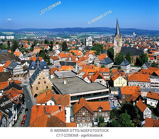 Germany, Hansestadt Korbach, West Hesse Highlands, Hessian Highlands, Sauerland, Hesse, city panorama, new city and old town, city hall