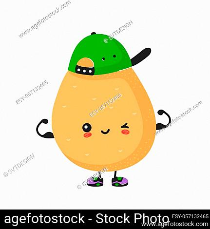 Cute happy smiling potato show muscle character. Vector modern trendy flat style cartoon illustration icon design. Isolated on white background