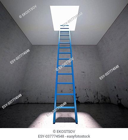 Ladder to the exit in dark interior