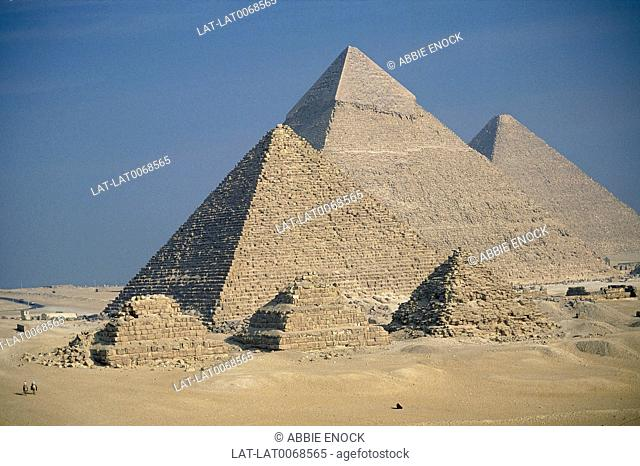 Pyramids in desert. Great Pyramid of Cheops/ Pyramid of Chephren/ Mycerinus. Smaller Queen's pyramid