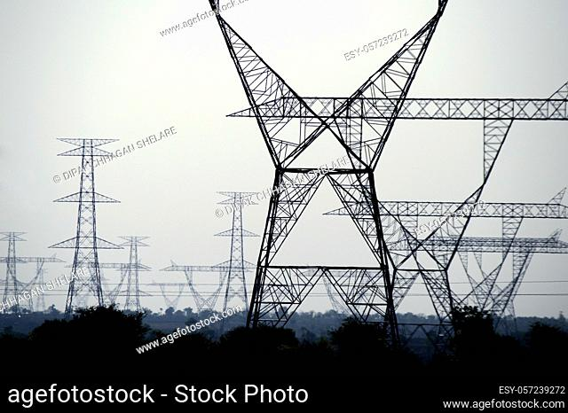 high voltage post, High voltage tower on blue sky background
