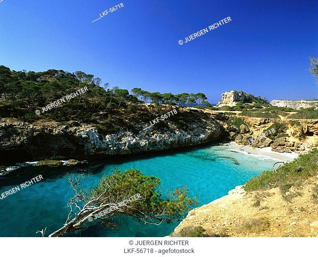 Lonely bay Cala S'Amonia, near Santanyi, Mallorca, Spain