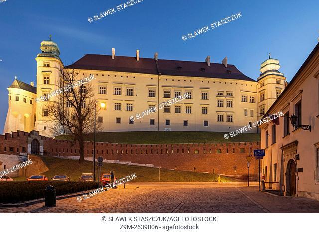 Evening at Wawel Royal Castle in Krakow, Malopolska, Poland