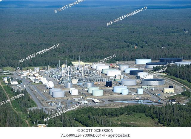 Aerial view of the Tesoro natural gas refinery in Nikiski, Kenai Peninsula, Southcentral Alaska, Summer