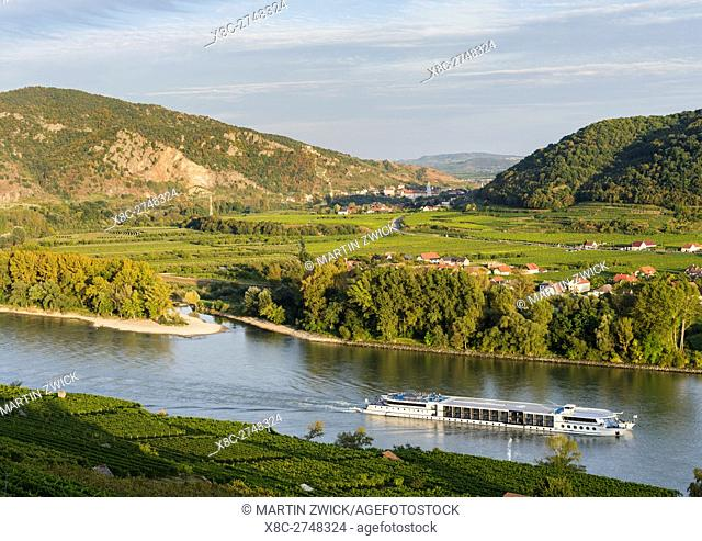 View from Weissenkirchen over the Danube towards Rossatz and Duernstein in the Wachau. The Wachau is a famous vineyard and listed as Wachau Cultural Landscape...