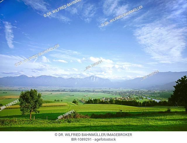 View from the hills near Kleinweil over the Kochelsee swamp lands towards Benediktenwand, Rabenkopf, Jochberg and Herzogstand mountains, Upper Palatinate