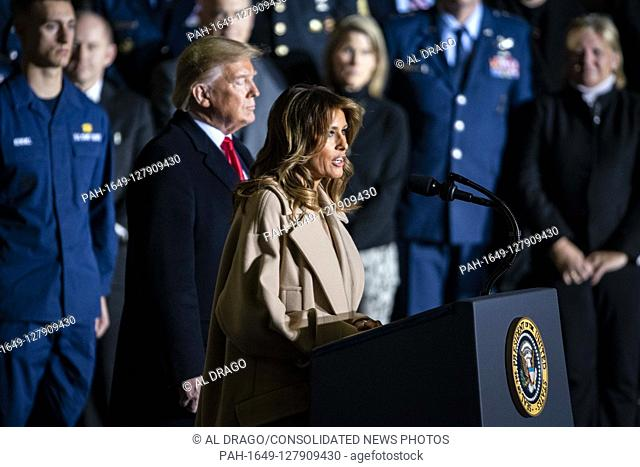 First lady Melania Trump introduces her husband prior to United States President Donald J. Trump making remarks and signing S