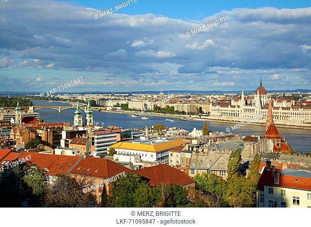 Budapest , View from Fisherman's Bastion at Pest with the the Houses of Parliament , River Danube , Hungary , Europe